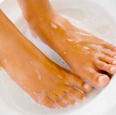 How to get rid of Dry feet --- Mix 1/4 c Listerine (any kind ), 1/4 c vinegar and 1/2 c of warm water. Soak feet for 10 minutes and when you take them out the dead skin will practically wipe off.