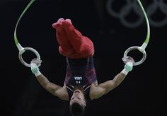 Gymnast from the United States Jacob Dalton trains on the rings ahead of the 2016 Summer Olympics in Rio de Janeiro, Brazil, Wednesday,…
