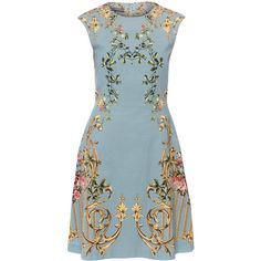 Alberta Ferretti Short Sleeve Blue Floral Dress ($995) ❤ liked on Polyvore featuring dresses, floral, floral evening dresses, short sleeve dress, blue floral dress, special occasion dresses and a line dress