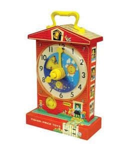 Retro Fisher Price Teaching Clock - Introduced in the Music Box Teaching Clock has made learning to tell time fun for generations of children. Designed as The Little Red School House, the Music Box Teaching Clock plays Grandfather's Clock Jouets Fisher Price, Fisher Price Toys, Vintage Fisher Price, 1960s Toys, Retro Toys, 1970s, Vintage Toys 1960s, Vintage Stuff, Vintage Items