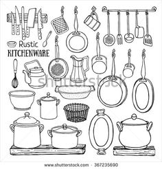 Black And White Sketch Of Pots Pans On The Shelves Isolated Background Doodle Illustration Dishes In Country Style