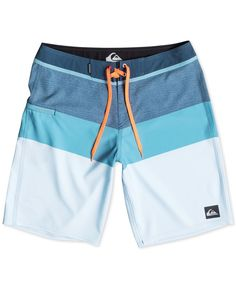Dive right in to cool style with these colorblocked swim trunks from Quiksilver. | Polyester/elastane | Machine washable | Imported | Drawstring | Colorblocked pattern | Logo at thigh | Web ID:2745899