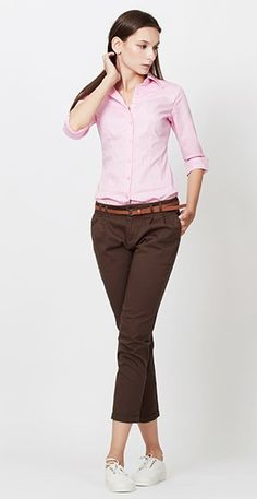 LE3NO Womens Roll Up 3/4 Sleeve Button Down Shirt with Stretch at Amazon Women's Clothing store: