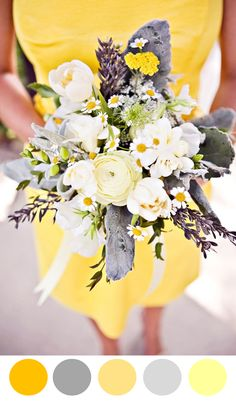 Your bouquet color doesn't have to take over the entire thing. This has yellow pops that shine through amongst other hues. See more bouquet color palette ideas here. Yellow Grey Weddings, Gray Weddings, Romantic Weddings, Wedding Color Schemes, Wedding Colors, Purple Wedding, Spring Wedding, Wedding Bouquets, Wedding Flowers