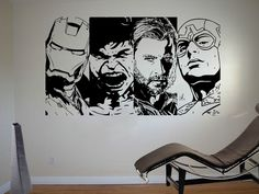 Behind bookcase in color Dark Grey.  Need size XL so I can split up.  Retro Avengers Wall Art Sticker Comic Vinyl Mural WA619 #LoudDesigns #Comic