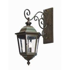 2nd Ave Design Cassandra 2 Light Outdoor Wall Lantern Finish: Rustic Iron, Shade Type: Lapis Blue
