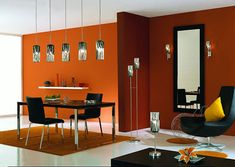 Modern Design Ideas Living Room Orange, black furniture with pops of white, steel, and yellow