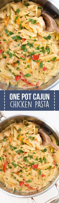 One Pot Cajun Chicken Pasta is made in only one pot with fresh peppers, chicken, Parmesan cheese and more! It doesn't get any easier than a one pot meal.