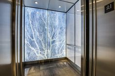accent back panel of glass with stone graphic backlit panel.  Elevator Cab Interiors | Seattle Series - Architectural Cab Finishes
