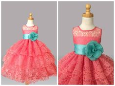 Flower Girl Bridesmaids Coral Pageant Recital Wedding Lace Toddler Dress #37
