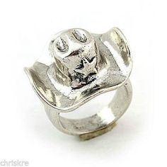 Country Western Cowboy Hat Sheriff Star Silver Ring Cowgirl SIze 7 USA Seller #Cocktail