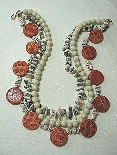 GP-3-Strand-Necklace-w-Sponge-Coral-Mother-of-Pearl-MOP-Jasper-18-long Mother Pearl, Strand Necklace, Jasper, 18th, Coral, Pearls, Bracelets, Jewelry, Pug