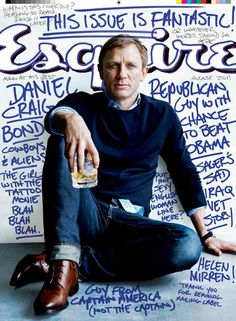 Esquire Offers James Bond Fashion Tips, Daniel Craig Interview, Hayley Atwell Pictures Daniel Craig is on the cover of the newest issue o. Daniel Craig, Craig 007, Craig Bond, Craig James, Photo New, Handwritten Text, Cover Boy, Outfits Hombre, Jeans Bleu