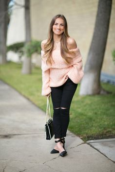 OOTD: Sexy off-the-shoulder sweater & ripped denim, #HelloGorgeous