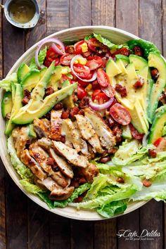 Honey Mustard Chicken Salad With Bacon & Avocado - Cafe Delites - food - Chicken Sandwich Bacon Avocado, Bacon Salad, Avocado Toast, Avocado Cafe, Meat Salad, Healthy Salad Recipes, Lunch Recipes, Cooking Recipes, Delicious Recipes