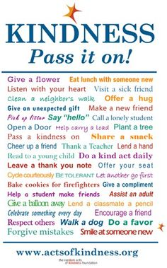 Good deed ideas to encourage random acts of kindness. Do a good deed or volunteer today!