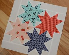 Star Cluster, free BOM designed by Judy Martin. Finding homes for quilts. Cool idea to enlarge the stars for whole quilt top. Star Quilt Blocks, Star Quilts, Scrappy Quilts, Quilt Block Patterns, Mini Quilts, Pattern Blocks, Canvas Patterns, Baby Quilts, Quilting Tutorials