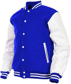 Men's Varsity Jacket Fleece Faux Leather Arms Letterman College Adult Jackets (Blue, XX-Large) at Amazon Men's Clothing store: