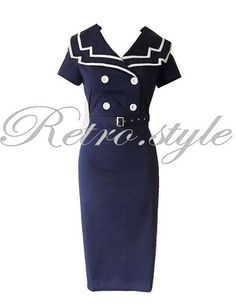BLUE SAILOR STYLE VINTAGE 50's PENCIL WIGGLE DRESS SIZE 8,10,12,14,16,18 | eBay