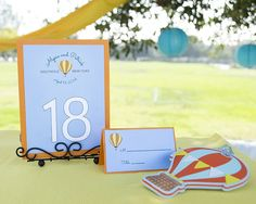 Hot Air Balloon Wedding Invitations, table signs, place cards and Hot Air Balloon Luggage Tag Favors. - Wine Country Occasions, www.winecoun...