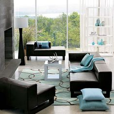 brown couch living room ideas | Turquoise Living Room Design Ideas With Brown Leather Sofa And White ...