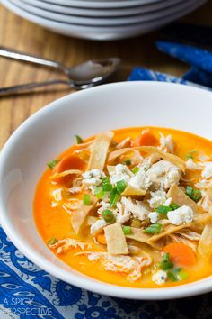 Bold Slow Cooker Buffalo Chicken Soup #soup #buffalochicken #healthy