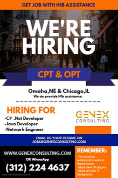 We are hiring CPT/OPT candidate for our multiple client openings at Chicago,IL and Omaha,NE location. To know more email us your resume or WhatsApp *We do provide assistance to all our candidates. Network Engineer, We Are Hiring, Job Opening, Java, Resume, Engineering, Chicago, Cv Design, Technology