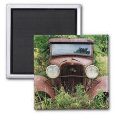 Vintage Classic Car Rust Bucket Photograph Refrigerator Magnets