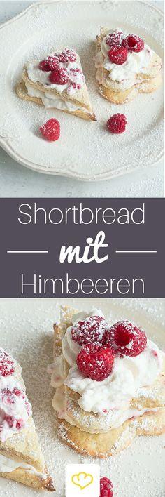 Fruchtige Himbeercreme küsst knusprige Shortbread-Herzen - das perfekte Duo für den Valentinstag!