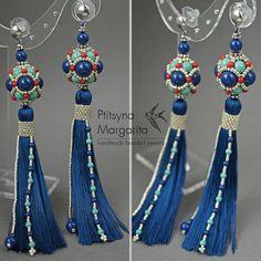 Long tassel earrings Dark Lapis earrings with by RitaLovelyBeads
