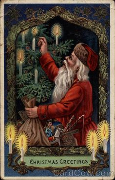A cool antique postcard of Santa lighting the candles on a Christmas tree :)