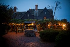 House of the 7 Gables garden at night