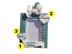 Personalized Baby's 1st Photo Frame Ornament - Light Blue
