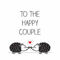 Feliciteer het kersverse bruidspaar met deze twee verliefde egeltjes.
