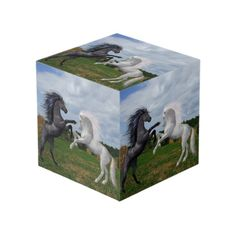 Fighting Stallions Cube Photo Cubes, Bookends, Pony, Horses, In This Moment, Display, Painting, Design, Art