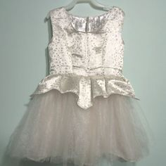 Sparkly Satin ball gown costume dress in ivory and silver brocade - child size 6 - ready to ship. $59.00, via Etsy.