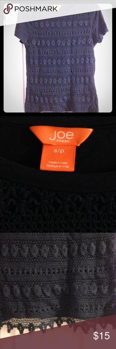 Joe Fresh Crochet T-shirt Navy Blue Small This is a cool two sides too, plain T shirt on the back but with a crocheted overlay on the front. Navy blue. Good condition, no stains or pulls in the crochet. Joe Fresh Tops Tees - Short Sleeve