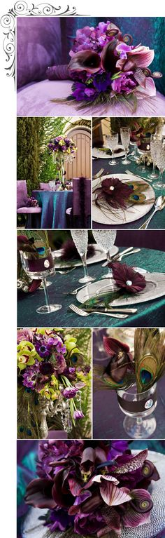 DECOR | Centerpiece - Tabletop with an ornate silver candelabra adorned with hanging crystal prisms showcasing the rich blooms of deep plum hydrangeas, anemones, schwartzwalder calla lily, purple cabbage, uluhe fiddleheads, apple green cymbidium orchids and oh yes, Peacock feathers…We added the eggplant ostrich feathers with a crystal button for each plate…Our peacock shimmer linens plays off the colors perfectly!