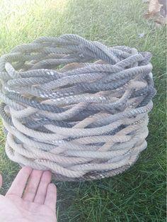 Large Braided Lariat Rope Basket Stunning & by WesternFaithDesigns