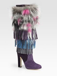 Jimmy Choo Dalia Fringed Suede & Fur Knee-High Boots $3495 - with a simple black sweater dress... perfect.
