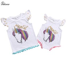 Rainbow Horse Family Clothes 2017 New Summer Cotton Tassel Clothes Big Sister T-shirt Vest Little Sister Romper Outfits Set #Affiliate