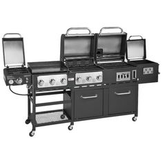 The Outdoor Gourmet Pro™ Triton Supreme 7-Burner Propane and Charcoal Grill, Griddle and Smoker Combo features 72,000 gas BTUs and a smoker.