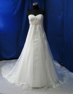 Taille Plus magnifique robe avec dentelle et perles taille Empire