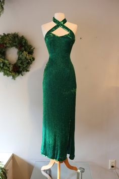 Vintage Emerald Green Beaded Bombshell Dress ~ Vintage 80s Beaded Evening Gown With Sexy Criss Cross Neckline by xtabayvintage on Etsy