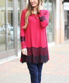 CrazyRomantic.com loves this! This Burgundy & Black Lace Hem & Cuff Tunic is perfect! #zulilyfinds