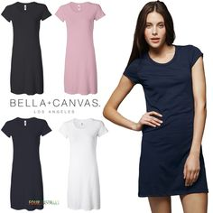 Bella Ladies Cory Vintage T-Shirt Dress Womens Tee Black White Midnight - 8412