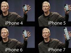 Tim Cook e vários modelos fictícios de iPhone em piada que circula na web