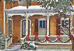 winter-porch-decor-ideas / garland with red