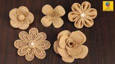 Easy burlap flowers tutorial   Jute craft flower Decoration   Handmade Jute Flower - YouTube Twine Flowers, Cloth Flowers, Paper Flowers Diy, Handmade Flowers, Flower Crafts, Fabric Flowers, Burlap Flower Tutorial, Twine Crafts, Burlap Projects
