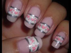 Band of hearts Fun Nails, Pretty Nails, Holiday Nail Art, Nail Art Videos, Heart Nails, New Nail Art, Gel Nail Designs, Nail Tips, Hair And Nails